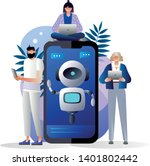 users with digital gadgets...   Shutterstock .eps vector #1401802442