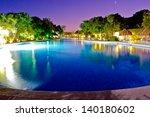Resort  Swimming Pool At Night...