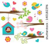 family of birds.  raster... | Shutterstock . vector #140182396