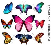 Stock photo many different butterflies flying isolated on white background 140184178