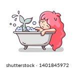 mermaid taking a foam bath.... | Shutterstock .eps vector #1401845972