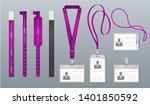 realistic lanyard badge.... | Shutterstock .eps vector #1401850592