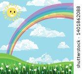 blue sky  rainbow sun and white ...   Shutterstock .eps vector #1401862088