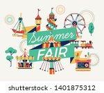 summer fair or festival...   Shutterstock .eps vector #1401875312
