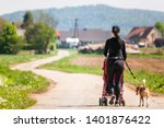 Stock photo woman walking with stroller and dog outdoors in nature on a rural road sunny day in countryside 1401876422