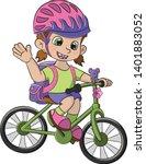 bicycle girl school  child...   Shutterstock .eps vector #1401883052