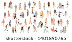 set of crowd people. vector... | Shutterstock .eps vector #1401890765