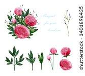 watercolor flower arrangements... | Shutterstock . vector #1401896435