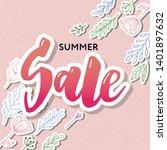 summer sale card template. hand ... | Shutterstock .eps vector #1401897632