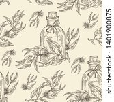 seamless pattern with tea tree... | Shutterstock .eps vector #1401900875