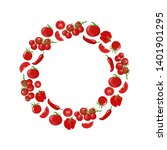 red wreath from tomato  bell... | Shutterstock .eps vector #1401901295