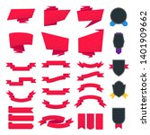 set of red retro ribbons and... | Shutterstock .eps vector #1401909662
