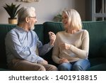 aged blond wife laughs at her... | Shutterstock . vector #1401918815