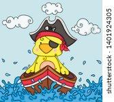 illustration with yellow bird... | Shutterstock .eps vector #1401924305