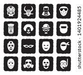 mask icons. grunge black flat... | Shutterstock .eps vector #1401924485
