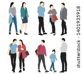set of silhouettes of men ... | Shutterstock .eps vector #1401935918