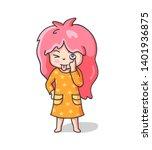 teasing girl sticking tongue... | Shutterstock .eps vector #1401936875