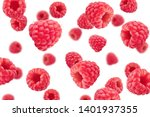 Falling Raspberry Isolated On...