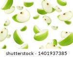 Falling Green Juicy Apple...