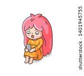 surprised shocked little girl... | Shutterstock .eps vector #1401945755