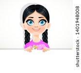 cute brunette blue eyed girl... | Shutterstock .eps vector #1401948008
