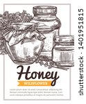 vector sketch honey poster or... | Shutterstock .eps vector #1401951815