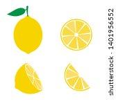 lemon fruit icons symbols set | Shutterstock .eps vector #1401956552