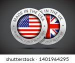 made in uk and usa flag metal... | Shutterstock .eps vector #1401964295