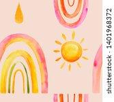 watercolor illustration rainbow ... | Shutterstock . vector #1401968372