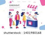 supermarket  line waiting... | Shutterstock .eps vector #1401980168