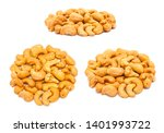 set of handfuls of nuts from... | Shutterstock . vector #1401993722