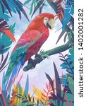 parrot on the background of...   Shutterstock . vector #1402001282