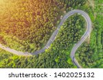 Aerial View Of A Forest Road...