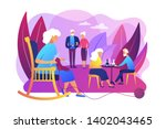 pensioners pastime at senior... | Shutterstock .eps vector #1402043465