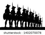 asian ancient troops with spear ... | Shutterstock .eps vector #1402070078
