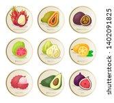tropical fruits stickers vector ...   Shutterstock .eps vector #1402091825