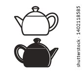 black and white teapot isolated ...   Shutterstock . vector #1402118585