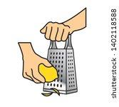 hand grating lemon isolated on...   Shutterstock . vector #1402118588