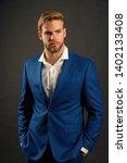 fashion man in blue suit jacket ... | Shutterstock . vector #1402133408