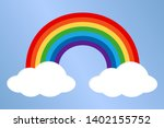colorful bright rainbow with... | Shutterstock . vector #1402155752