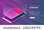 isometric email or sms app on a ...