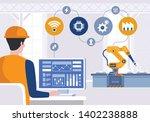 engineer using computer to... | Shutterstock .eps vector #1402238888