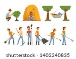 farmers set  farm workers with... | Shutterstock .eps vector #1402240835