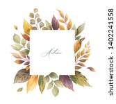 watercolor autumn frame with... | Shutterstock . vector #1402241558