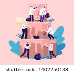 people cook festive cake with... | Shutterstock .eps vector #1402250138