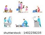 animal shelter set. homeless... | Shutterstock .eps vector #1402258235