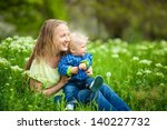 mother playing with her toddler ... | Shutterstock . vector #140227732
