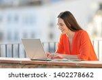 happy self employed in orange... | Shutterstock . vector #1402278662