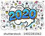 2020 new year. blue numbers... | Shutterstock .eps vector #1402281062