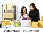 business owners working online... | Shutterstock . vector #1402290935